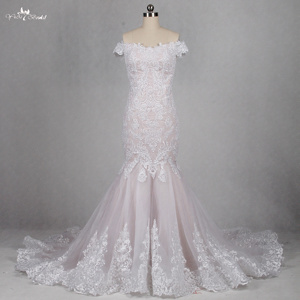 3bad5afaa4b RSW1143 Real Photo Off The Shoulder Nude And White Color Lace Mermaid  Wedding Dress