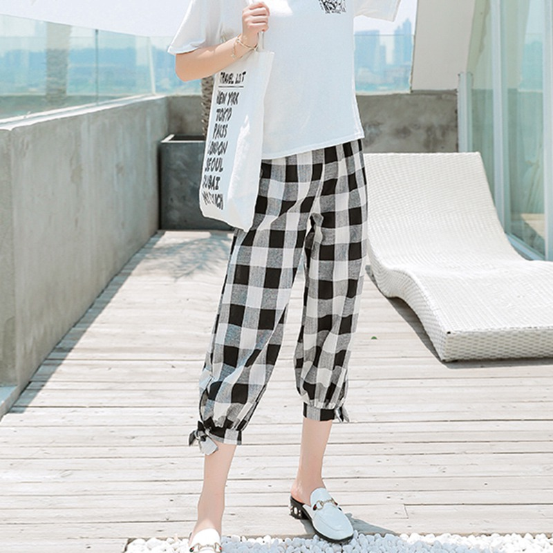 Korean Style Women Casual Loose Plaid Print Lace Up High Waist Elastic Harem Pants Black Red Capris Fashion Femme Plaid Trouser