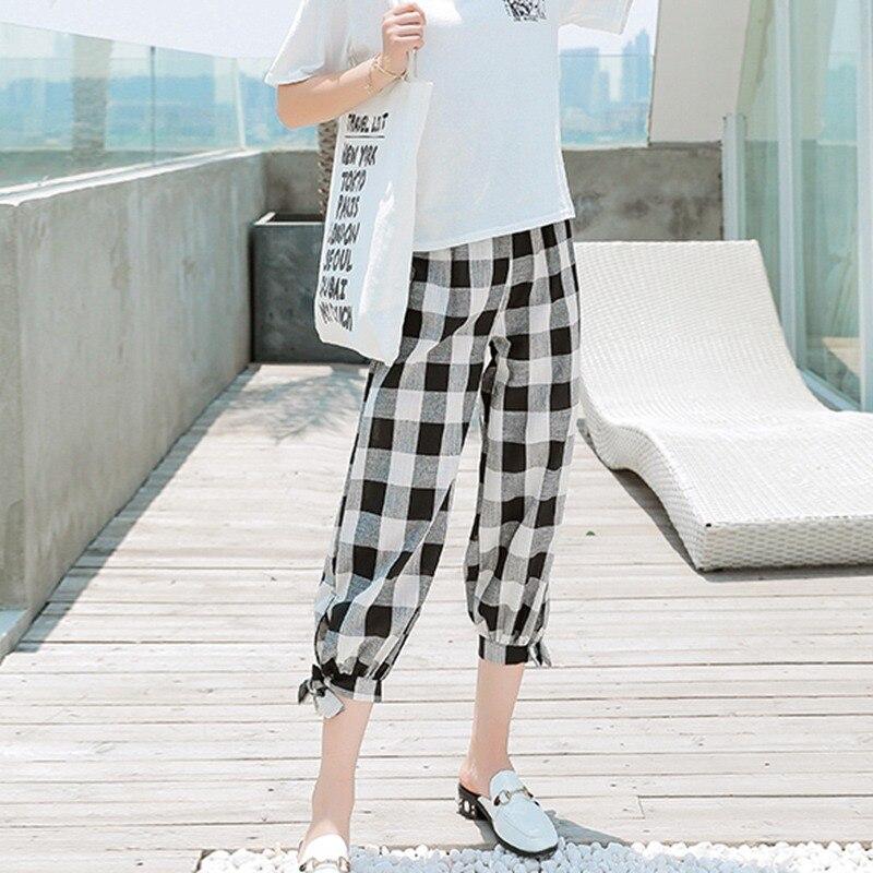 Korean Style Women Casual Loose Plaid Print Lace Up High Waist Elastic Harem Pants Black Red Capris Fashion Femme Plaid Trouser