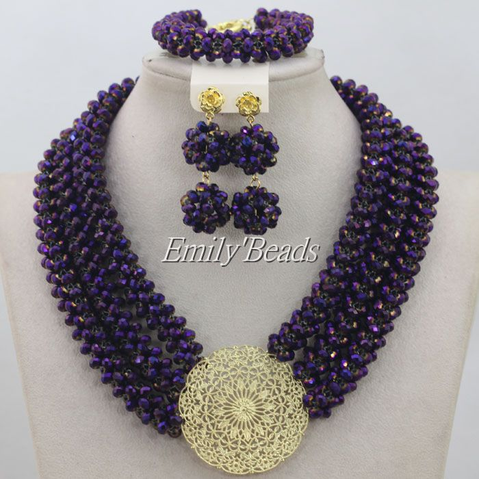 Purple Crystal Beads Necklace Set Handmade African Costume Nigerian Wedding Indian Bridal Jewelry Set 3 Row Free Shipping AIJ248 цены онлайн