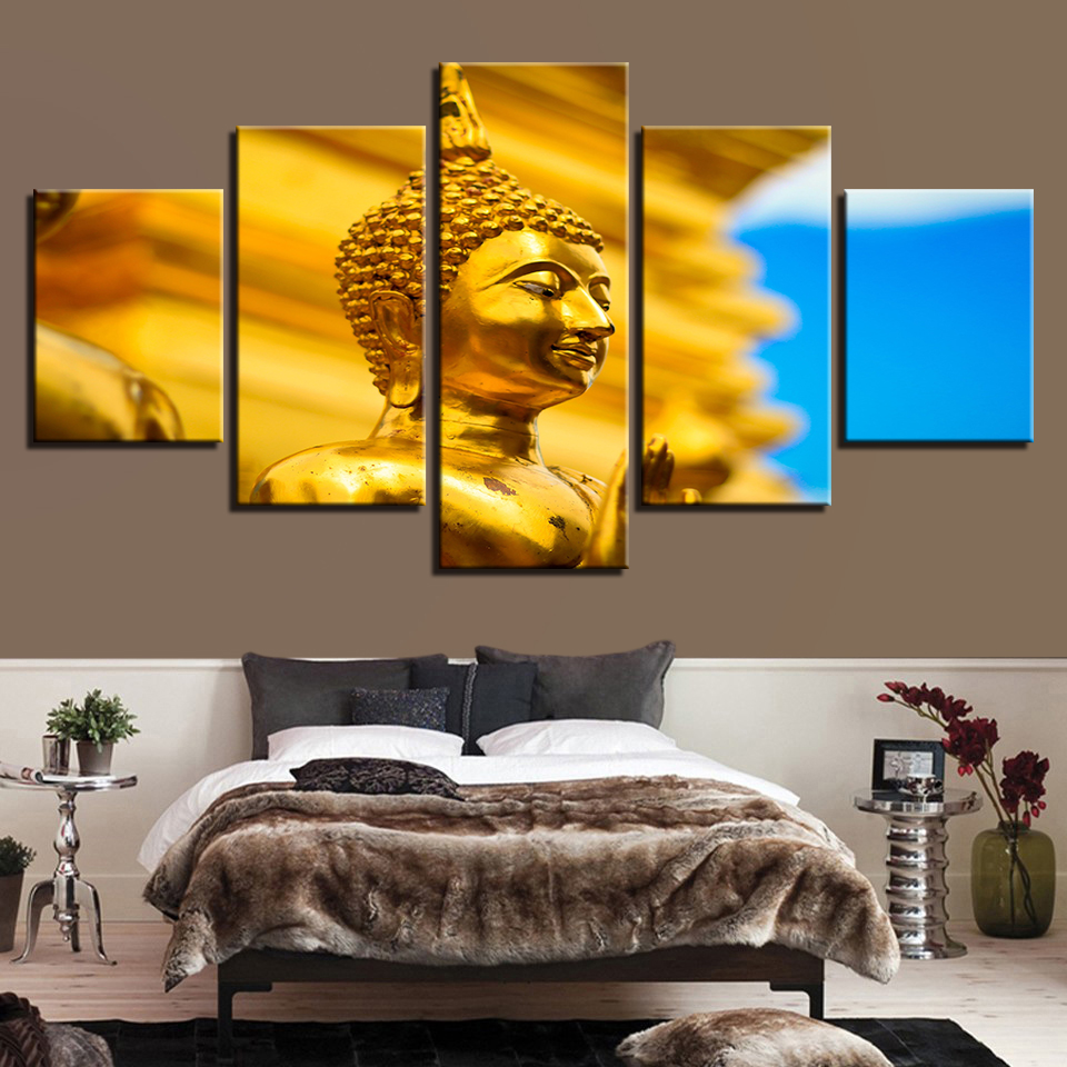 Painting Children'S Room Fashion Decoration Printed Framework 5 Panel Golden Buddha Canvas Modular Artwork Pictures Poster