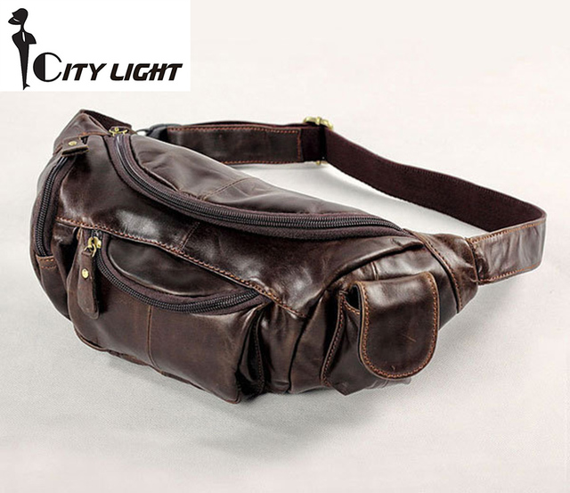 Vintage bolsas couro genuine leather fanny pack Fashion men small travel bags waist bag wallet  for men Free shipping