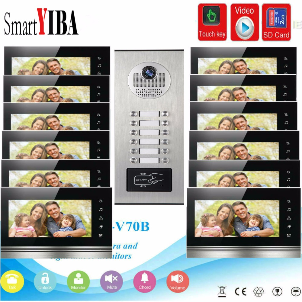 SmartYIBA 7Inch Monitor Video Intercom Door Phone KIT RFID Access Doorbell Camera With SD Card Video Recording For 12 ApartmentSmartYIBA 7Inch Monitor Video Intercom Door Phone KIT RFID Access Doorbell Camera With SD Card Video Recording For 12 Apartment