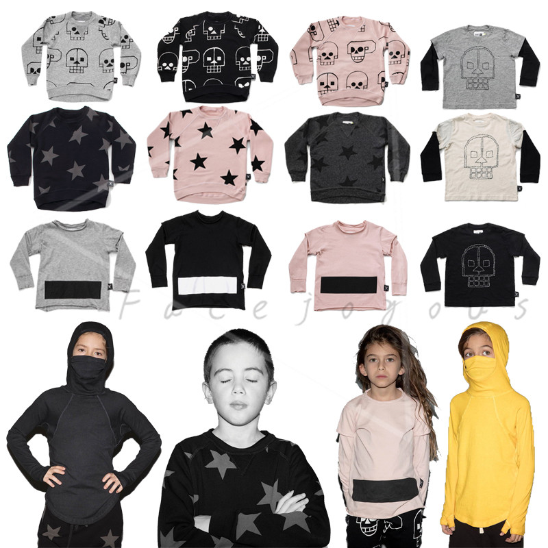 Kids Long Sleeve T-shirts Boys Skull Robot&Star Sweatshirt Toddler Girl Tops Ninja Shirt Baby Embroidered T-shirt Nununu Clothes embroidered flamingo patch drop shoulder sweatshirt