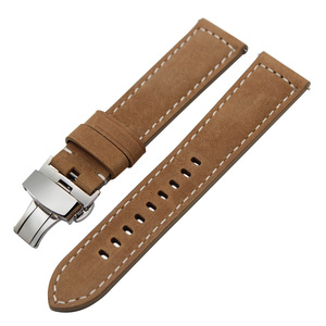 Image 2 - Italy Genuine Leather Watchband 22mm 20mm for Samsung Galaxy Watch 46mm 42mm Quick Release Band Steel Butterfly Clasp Belt Strap
