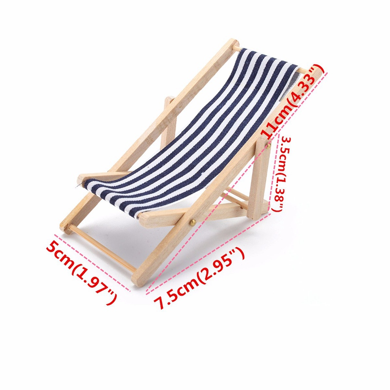 Dollhouse Foldable Miniature Beach Chair Fairy Garden Furniture Deck 1:12 Scale Miniatures Decors Lovely Resin Beach Supply