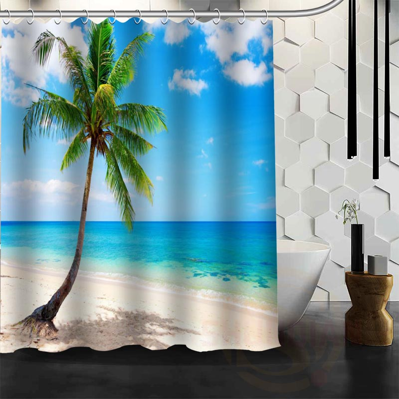 Best Nice Custom Ocean Beach Huts Palm Trees Shower Curtain Bath Curtain  Waterproof Fabric For Bathroom