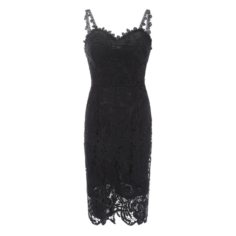 2019 Summer Fashion Solid V Neck Bodycon Dresses Sexy Spaghetti Strap Lace Dress Women Casual Hollow Out Vestidos de festa in Dresses from Women 39 s Clothing