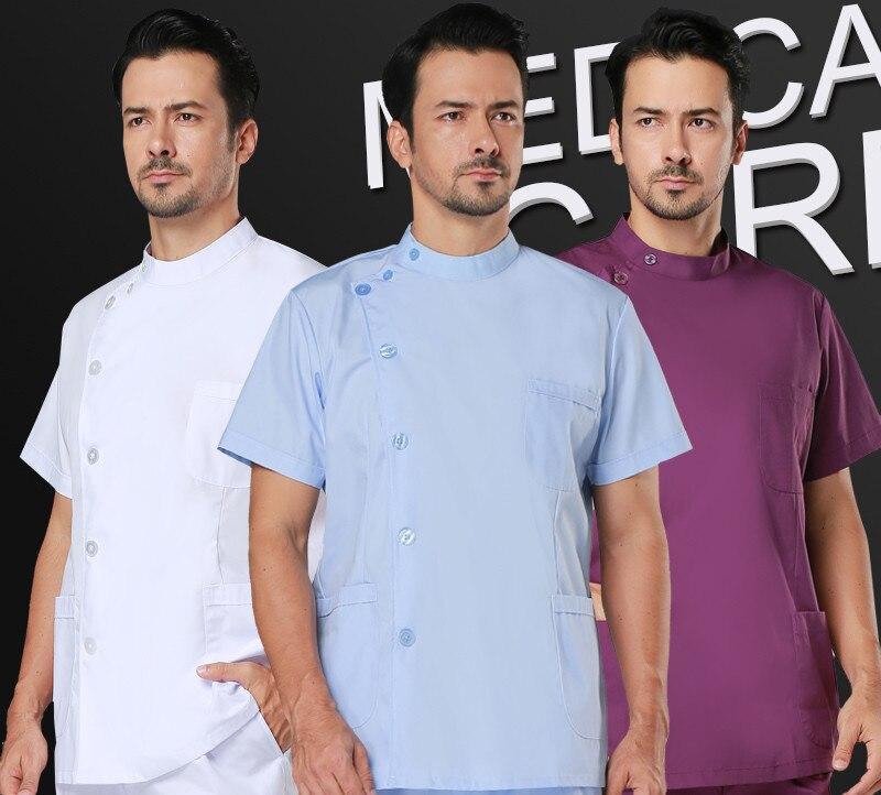 Hot sale! Medical work wear Hospital Doctor Man white and blue Short sleeve Medical Clothing uniformes hospital uniform designs