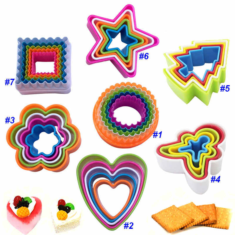 Food Grade Biscuit Cake Mold Baking Cookie Moulds Plastic Vegetable Cutters Galletas DIY Fondant Cake Baking Tools Random Color
