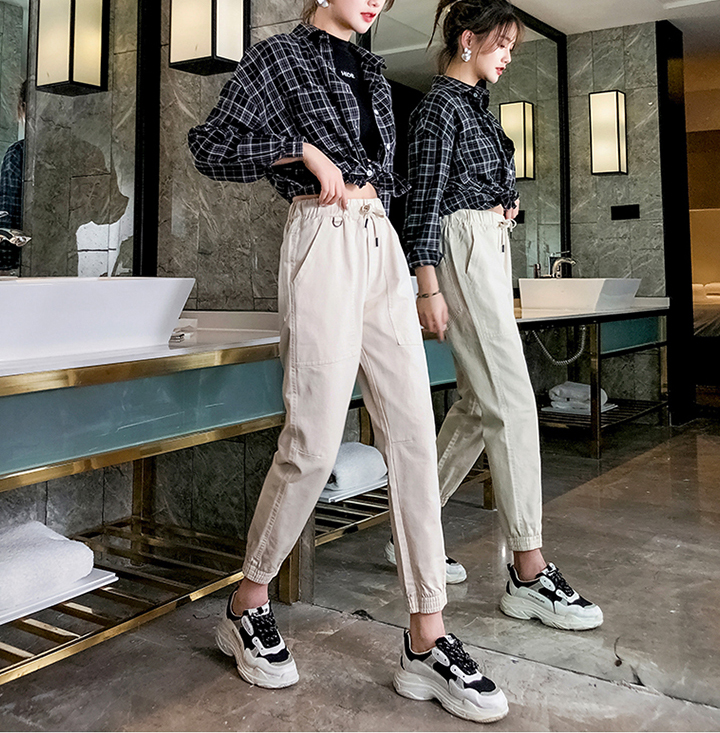 2019 Spring and summer new style Slim loose harem pants Casual straight cropped pants Slim pants