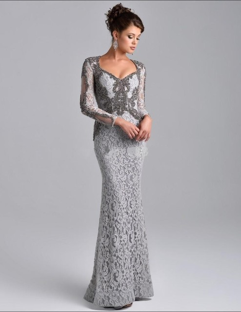Only 2016 De La Over Silver Wedding Gown V Neck Long Sleeve Beads