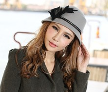 Free Shipping Fashion Women Hats Felt Wool Hat Top Wool Fedoras Elegant Winter Ladies High Class Hat
