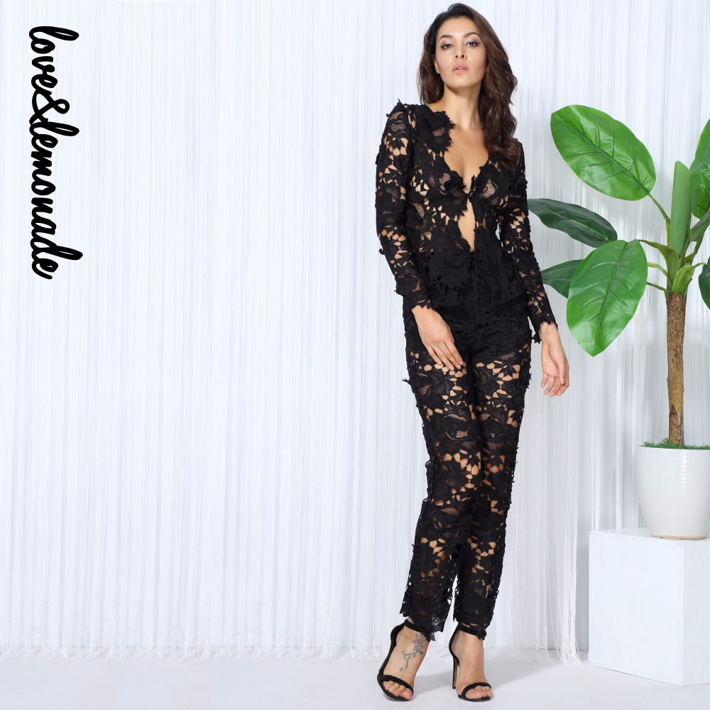 Love Lemonade Black Stereo Lace Two Pieces V Collar Sets TB 10108