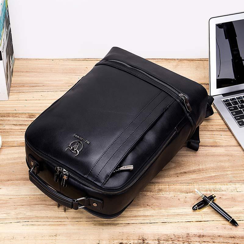 BULLCAPTAIN multifonction unisexe 15 pouces ordinateur portable en cuir de vache sac à dos mode minimaliste mâle Mochila 18L voyage sac à dos pour hommes - 5