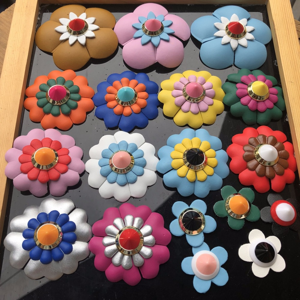 Handmade Shoes decorated 3D leather flower cloth patch sew on applique clothes shoes bags decoration patch DIY applique