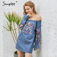 Simplee Vintage Embroidery Floral Denim Dress Women Off Shoulder Long Sleeve Beach Sexy Summer Dress 2017