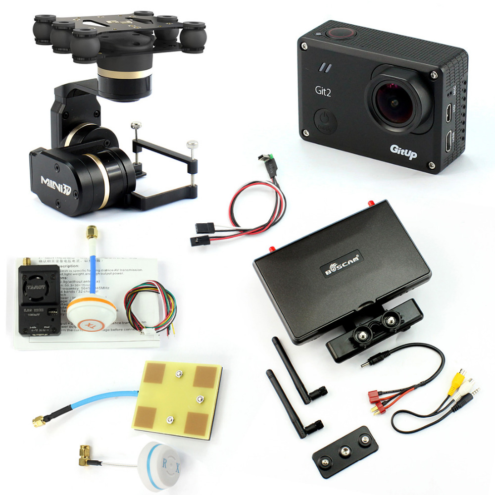 DIY Drone FPV Set with 1000mw Transmitter 7 Inch FPV Monitor Feiyu G3 3-axis Gimbal Gitup git2 Camera FPV Cable Panel Antenna with two batteries yuneec q500 4k camera with st10 10ch 5 8g transmitter fpv quadcopter drone handheld gimbal case