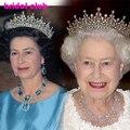 Lo nuevo Real de Cosecha Europea Pelo de La Corona, Partido nupcial De La Boda de Cristal Rhinestone Desfile Corona de La Tiara Del Pelo de Oro