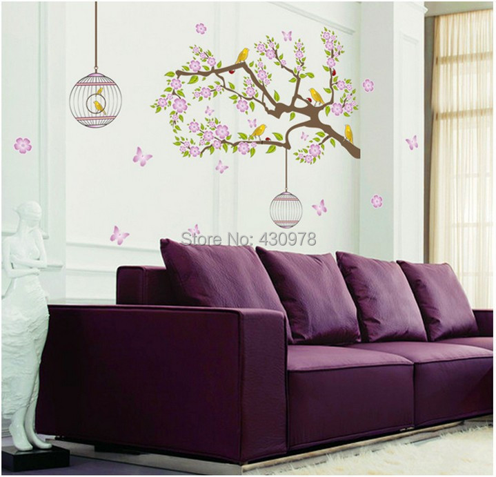 QZ1353 Free Shipping 1Pcs Cute Bird Cage Wood House Flower Leaf Removable PVC Wall Stickers <font><b>Elegant</b></font> Fancy <font><b>Home</b></font> <font><b>Decoration</b></font> Gift