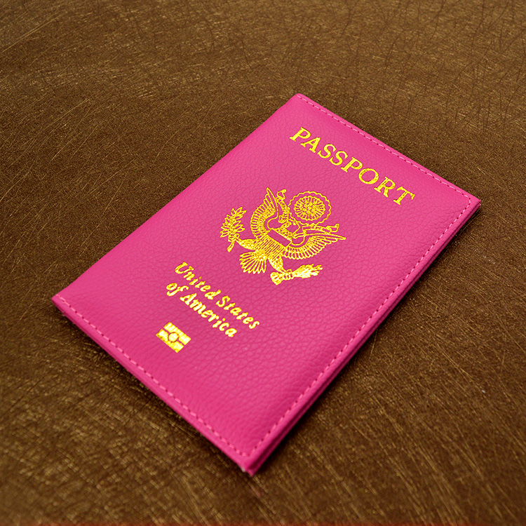 Cute PU leather USA Passport Cover Pink Women Passport holder Brand American Wallet Covers for Passports Girls America Passport