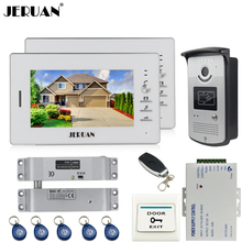 JERUAN Home 7 inch LCD color video door phone intercom system kit 2 white monitor waterproof 700TVL RFID Access IR Camera