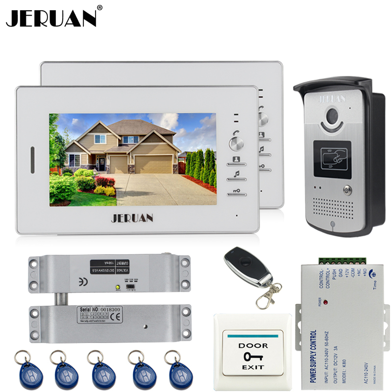JERUAN Home 7 inch LCD color video door phone intercom system kit 2 white monitor waterproof 700TVL RFID Access IR Camera