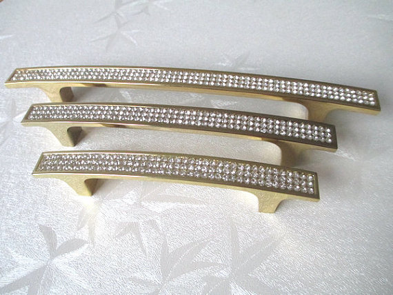 3.75'' 5'' Gold Crystal Dresser Drawer Pulls Handles Cabinet Knob Rhinestone Glass Retro Kitchen Furniture Pull Hardware 96 128 стоимость
