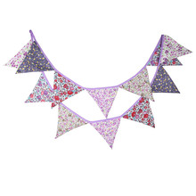 12 Flags 3.2m Fresh Purple Flowers Cotton Fabric Bunting Pennant Banner Garland Baby Shower/Outdoor DIY Home Decoration