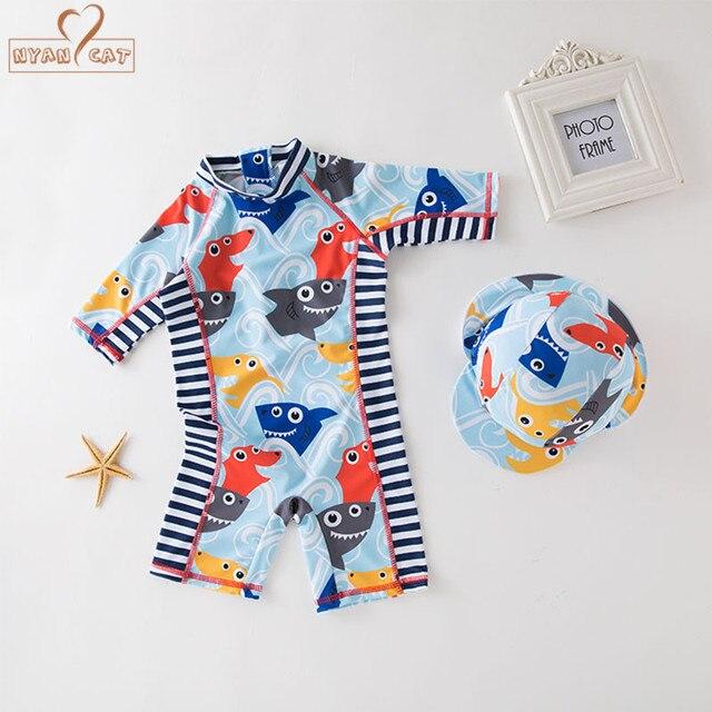 03d6fde5f2 New summer baby boy swimwear+hat 2pcs set sharks fish swimming suit infant  toddler kids children beach bathing clothes stripe