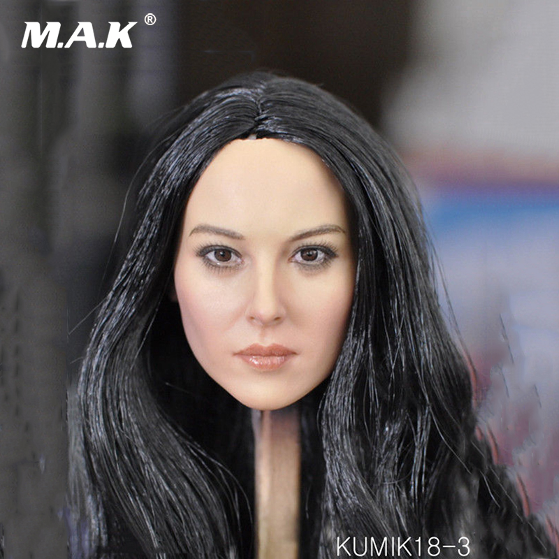 1 6 scale KUMIK18 31 female head sculpt black hair head carving model toys for 12 inches woman girl action figure body accessory in Action Toy Figures from Toys Hobbies