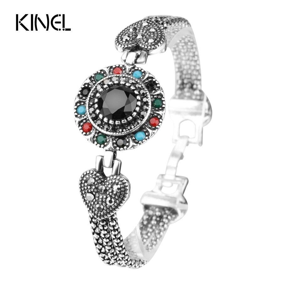 Kinel Vintage Black Bracelets For Women Tibetan Ethnic Style Ancient Silver Inlaid Resin Rhinestone Round Bracelet Ind