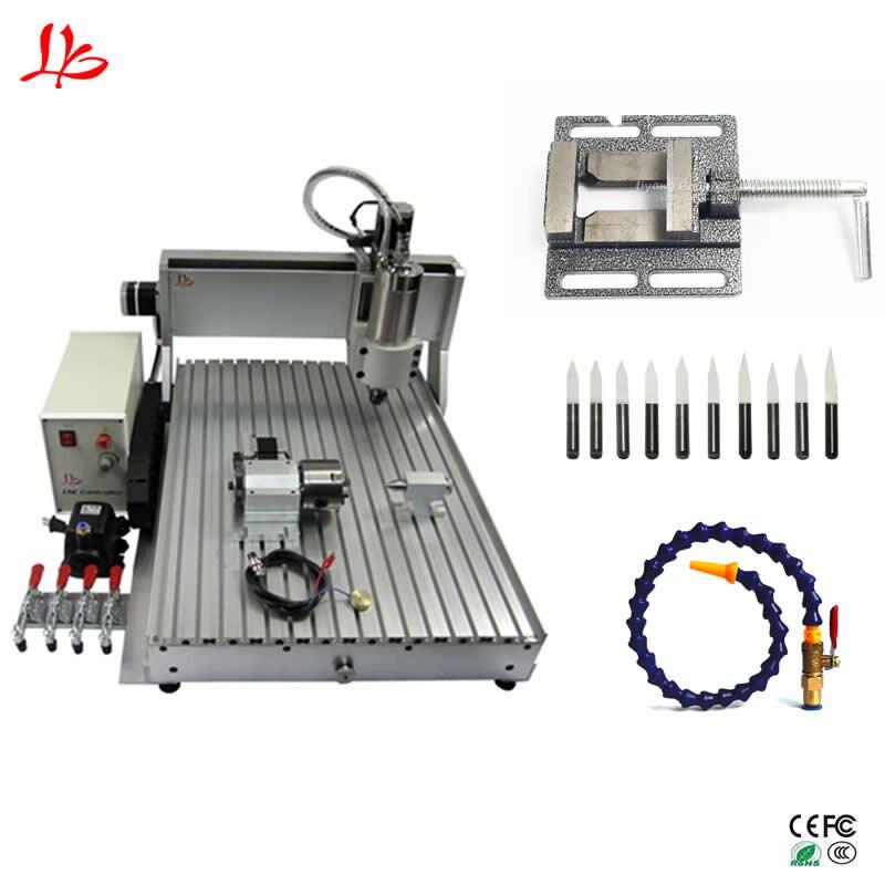 Chine CNC 6090 1.5KW 4 axes CNC routeur Machine de gravure USB bois aluminium cuivre métal fraiseuse