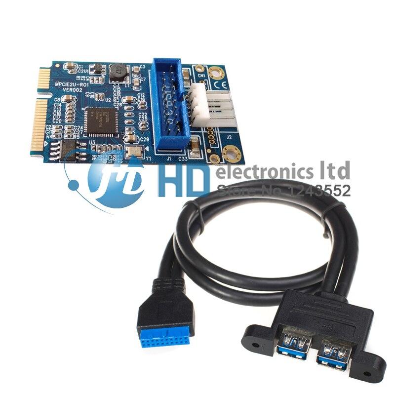 Mini PCIe a двойной USB адаптер 3,0 Mini PCI-e a 19 Pin USB 3,0 конвертер + 19 P USB jefe femenino a 2 USB3.0 spiltter кабель