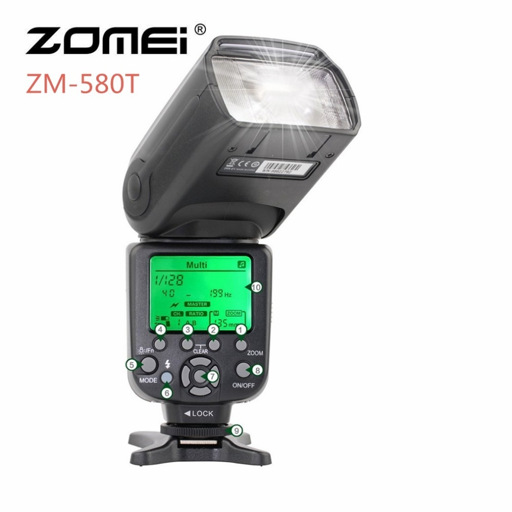Zomei ZM-580T Professionnel Mise Au Point Automatique Speedlite TTL Synchronisation Haute Vitesse Flash 1/8000 s Speedligt Flash Pour Nikon D7000 /D7100