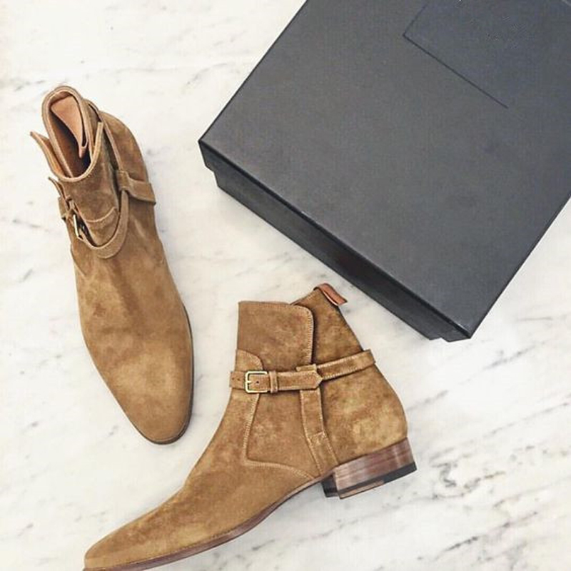 8379a1cbf90d Luxury Design Men s Hedi Jodhpur Boots Fashion Brown Suede Buckle Strap Tan Booties  Shoes Men Pointed Toe Flat Ankle Boots Shoes