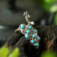 Koraba Fine Jewelry Turquoise Inlaid 925 Silver Peacock Ring Fashion Temperament Gems Accessories Gifts Free Shipping
