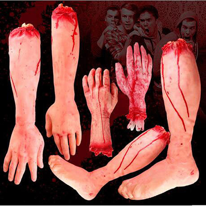 Horror Trick Toy Scary Prop Latex Stump Bloody Cut Hand Bone Gags Toy Practical Joke Rubber Artificial Broken Hand Broken Feet