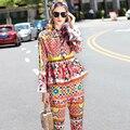 Europa de la Alta Calidad 2016 de Las Nuevas Mujeres de Impresión de La Moda Otoño Collar Del Soporte Del Arco Decorado Camisa de Manga Larga Delgado Traje de Pantalones