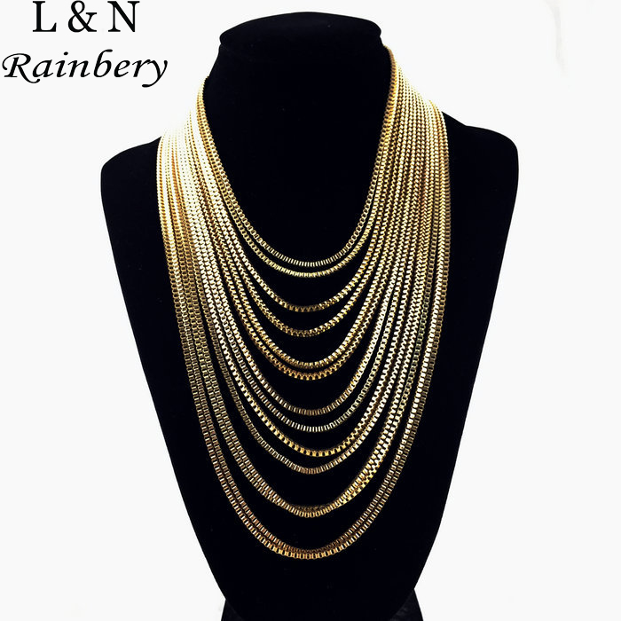 Rainbery Multilayer Long Tassels Maxi Necklace Chains 15 Gold Silver Black Retro Exaggerated Accessories Jewelry For Women