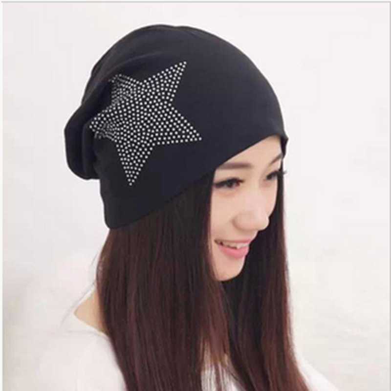 Fashion Rhinestone Star Pattern Winter Skullies Beanies For Men and Women Hip-Pop Style Hats Warm Knitted Cotton Turban 11 Color skullies