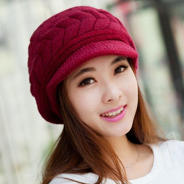 2018 Musim Gugur Musim Dingin Wanita Putih Rajutan Topi Wanita Hangat  Crochet Membungkuk Longgar Topi Beanie be67b253bd