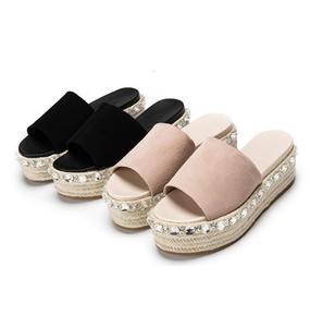 BONJEAN/соблазнительные плетеные шлепанцы на плоской платформе с открытым носком; женская обувь с кристаллами; летние шлепанцы из кожи высоког...