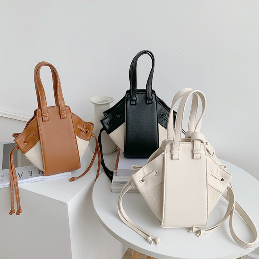 Casual Pu Leather Stitching Canvas Bucket Bag For Ladies Fashion Contrast Color Shoulder Female Daily Wild Large Capacity Bags