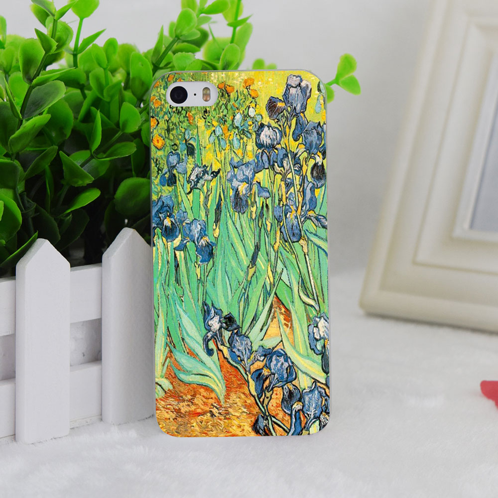 A1133 Vincent Van Gogh Flower Paintings Transparent Hard Thin Case Cover For Apple iPhone 4 4S 5 5S SE 5C 6 6S 6Plus 6s Plus