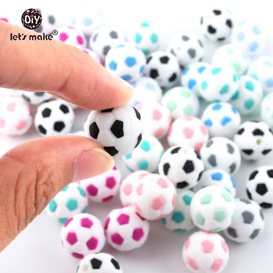 Let's Make BPA Free Baby Toy Football Silicone Beads 15mm Fashion DIY Jewelry Accessories Teething Nursing Necklace 5pcs Teether