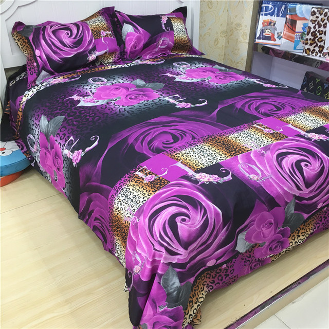 3D Flower 4PCS Bedding Set Super King Size Spring Bed Sheet Set (1pcs Quilt +1pcs Sheet+Pillow covers 2 Pcs) Bed set