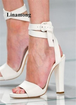 2018 Summer Women Sandals Simple and Fashionable White Thick high heels Sandals Ankle Cross-tied Design Normal size Sandals