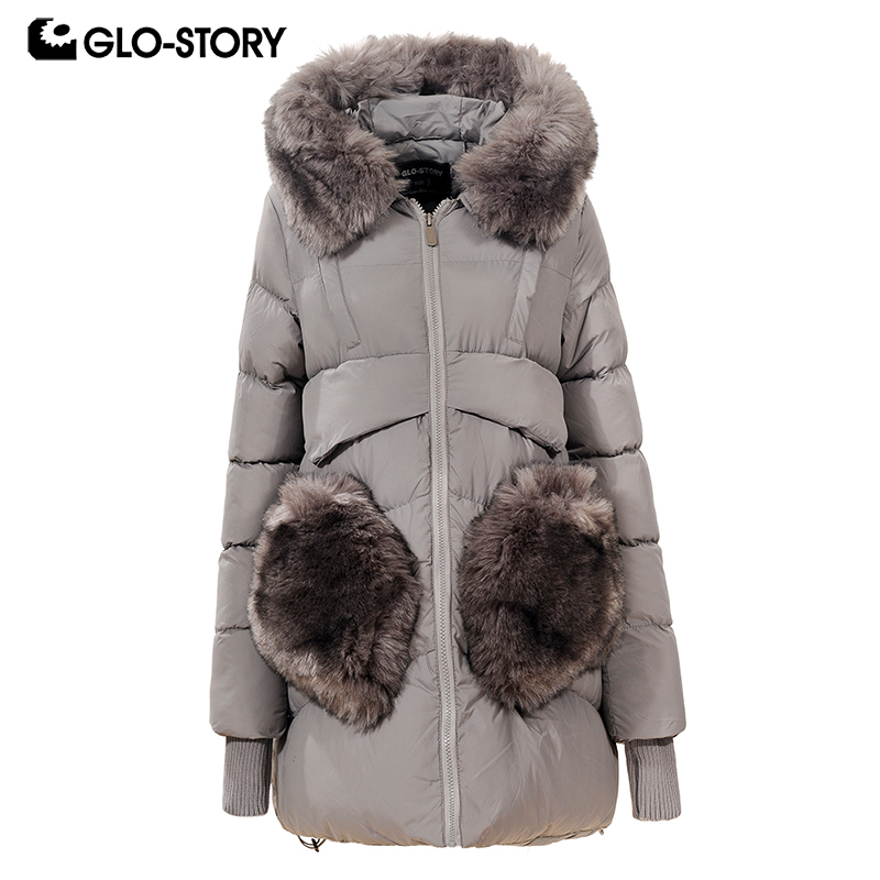 GLO-STORY 2018 Women Korean Loose Winter   Parka   Woman Windbreaker Rib Cuff with Faux Fur Pockets and Collar Thick Coats WMA-4748