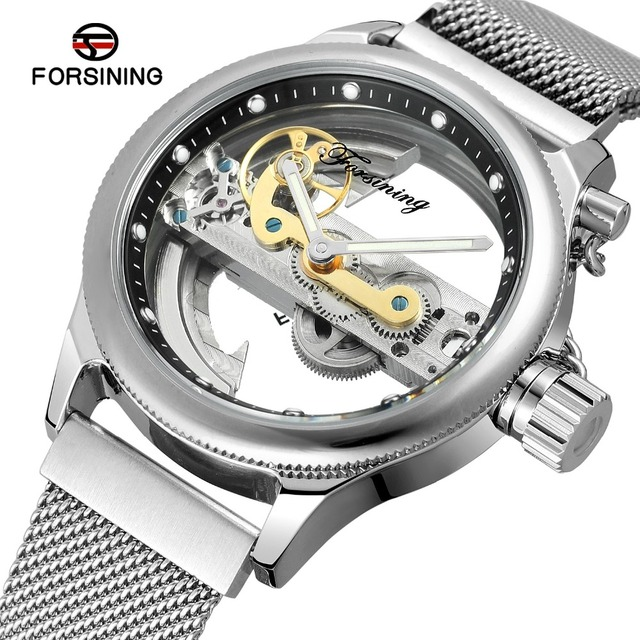 HOT Transparent Automatic Mechanical Watches Women Men Stainless Steel Mesh Strap Vintage Skeleton Watches Luminous Male Clocks